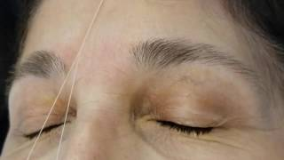 EYEBROW THREADING STEP BY STEP ON LIGHT EYEBROWS / JUST CLEAN UP