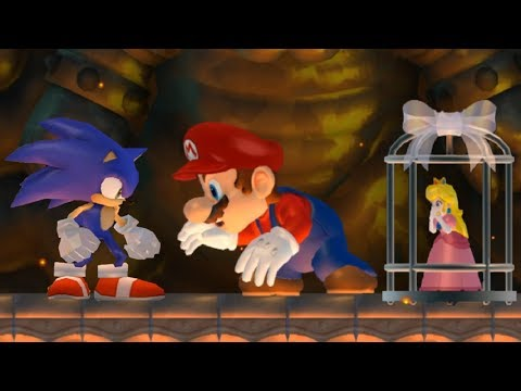 New Super Mario Bros Wii - Sonic Saves Peach from Giant Evil Mario