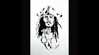 Drawing Captain Jack Sparrow - Johnny depp - black marker portrait - Art Maker Akshay