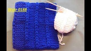 Wzór 0188*Przeciągnięty warkocz szydełkiem*Wrabianie wzoru*Komin na drutach