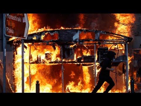 Greece protest turns violent - no comment