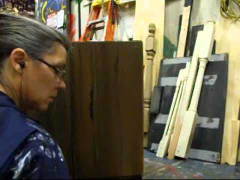 stage scenery painting - wood graining