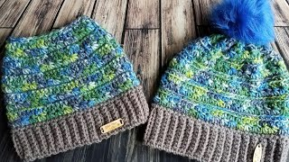 """Starr"" stitch messy bun beanie (and hat)"