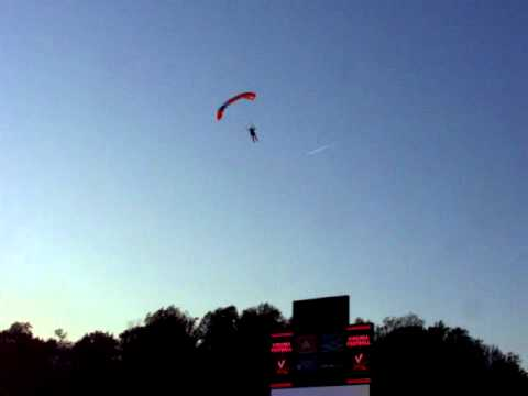 Cavman (Bobby Page) Skydiving into Scott Stadium