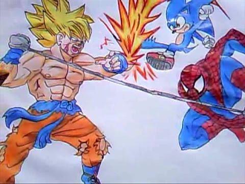 Desenho Especial 2 Goku Vs Sonic e Homem Aranha Desenha fcil