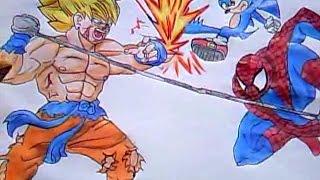 """Desenho Especial #2 Goku Vs Sonic e Homem Aranha """"Desenha fácil"""""""