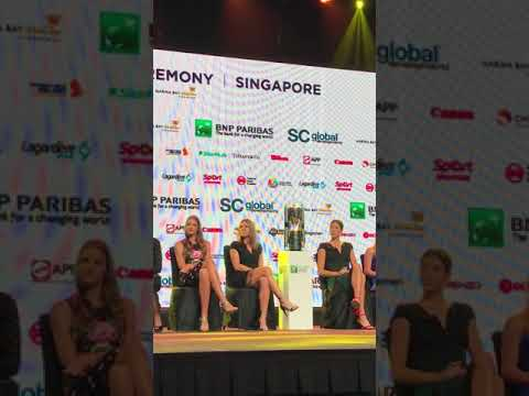 Simona Halep on the stage at the WTA Gala in Singapore