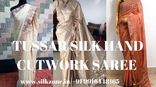 Tussar silk hand embroidery saree with cutwork