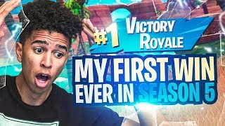 MY FIRST WIN EVER IN SEASON 5! *CARRIED* Jesser to Victory! Fortnite Battle Royale
