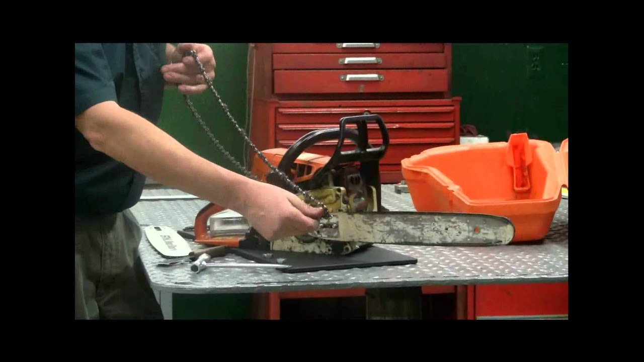 How to replace a chain on a chainsaw youtube how to replace a chain on a chainsaw greentooth Choice Image
