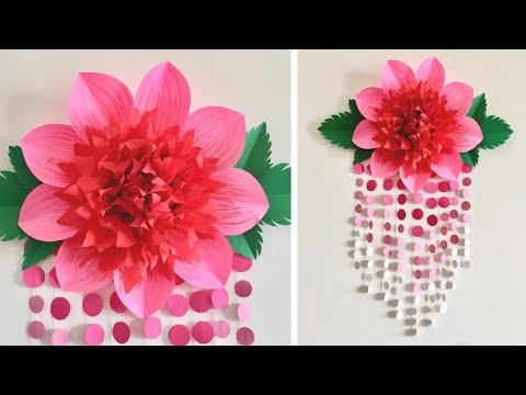 PAPER FLOWER WALL HANGING | ROOM DECOR IDEAS | GIANT PAPER FLOWERS
