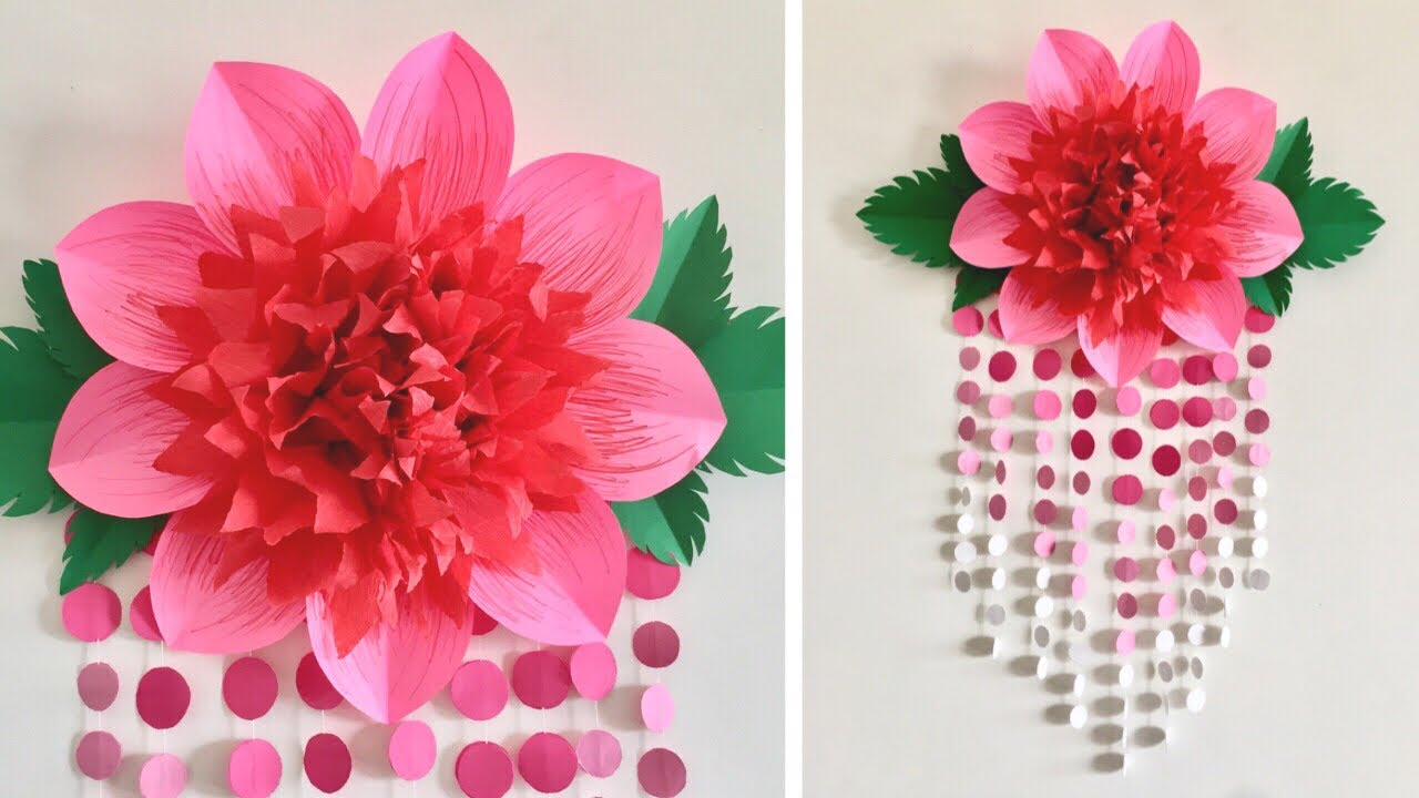 Paper Flower Wall Hanging Room Decor Ideas Giant Paper Flowers Youtube