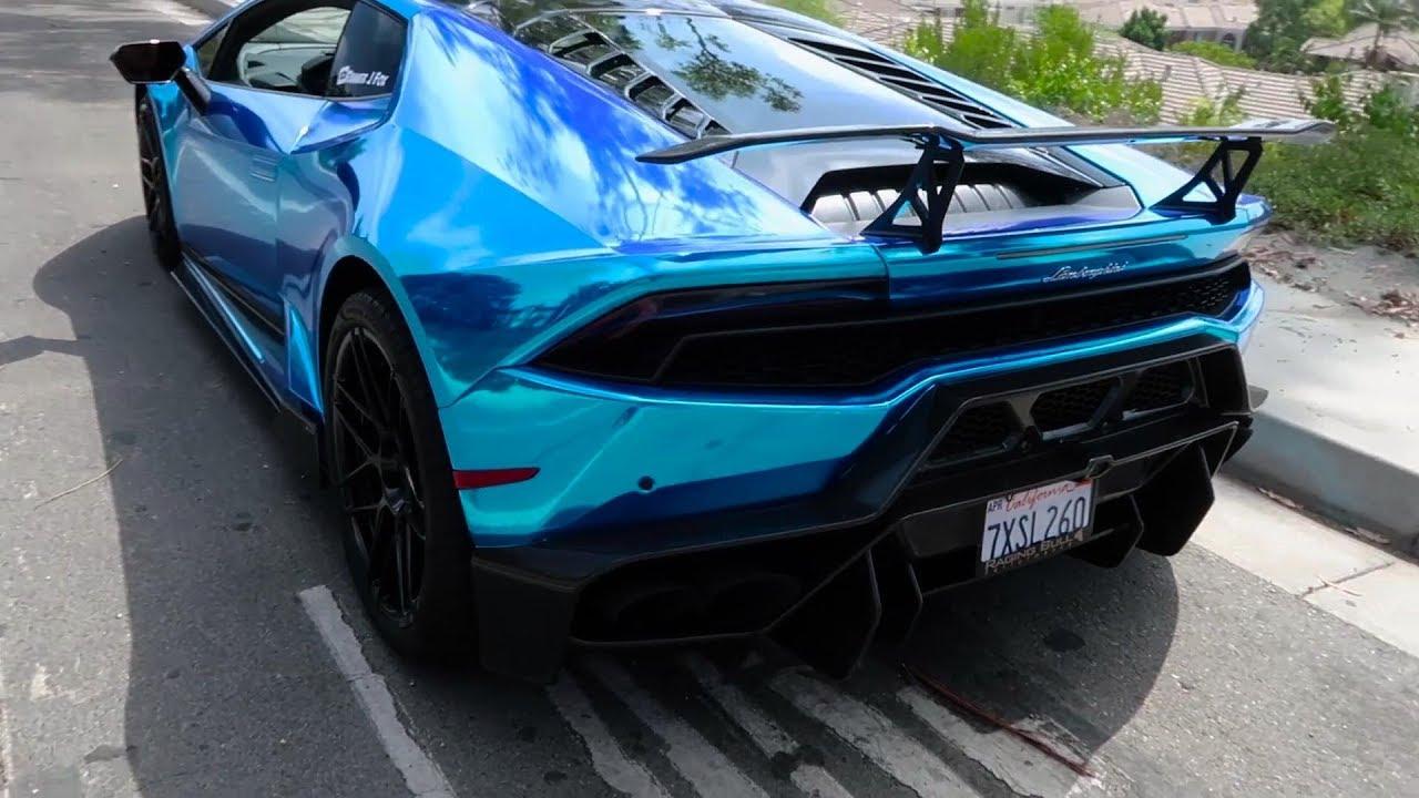 Chrome Blue Lamborghini Huracan Lp580 2 Armytrix Titanium Exhaust Amp Vorsteiner Kits Youtube