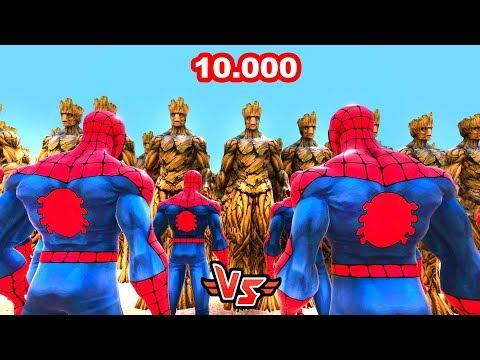 10.000 ÖRÜMCEK ADAM VS 10.000 GROOT 😱 - Süper Kahramanlar