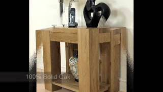 Kuba Solid Oak Lamp Table