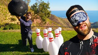 GIANT INFLATABLE BOWLING TRICK SHOT CHALLENGE!