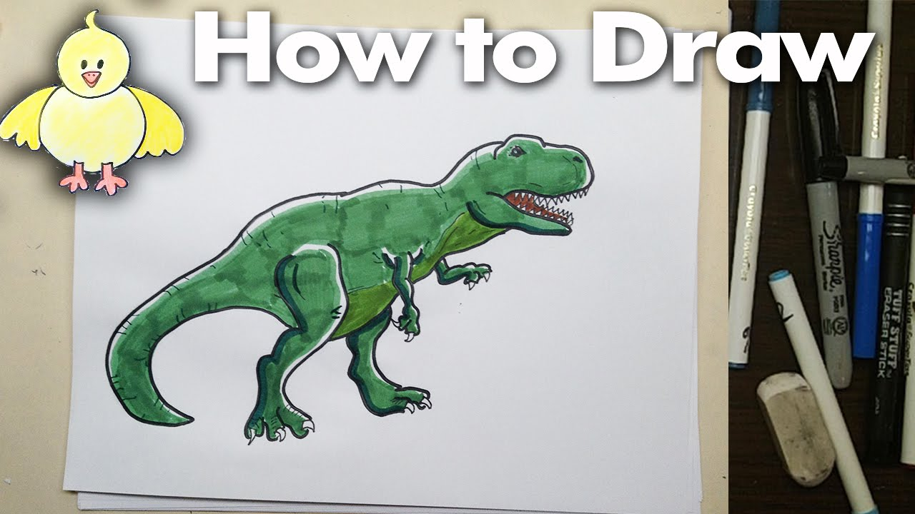 How to draw a T-Rex Dinosaur Step by Step - YouTube