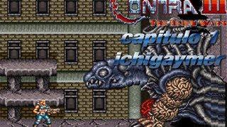 Contra 3 The Alien Wars capitulo 1 matando a la tortuga alien gigante