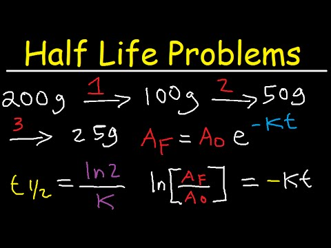 Half Life Chemistry Problems - Nuclear Radioactive Decay Calculations Practice Examples