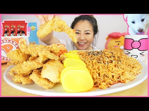 10X MINI NUCLEAR FIRE NOODLES + POPEYES CHICKEN L MUKBANG
