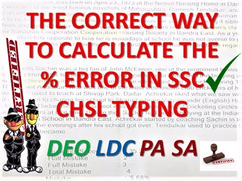CORRECT WAY TO CALCULATE PERCENTAGE ERROR IN TYPING