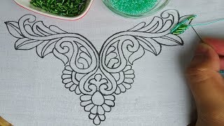 hand embroidery: beads work neck line design |beaded hand embroidery