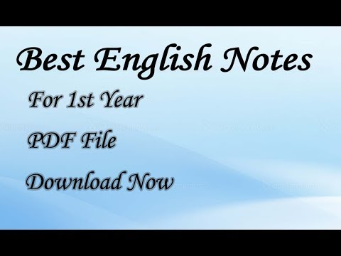 PDF) English Notes For Class 11/First Year - Sindh Board - YouTube