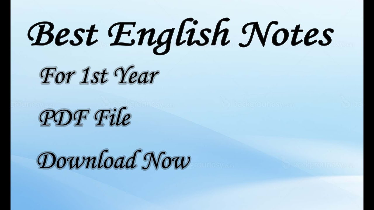 (PDF) English Notes For Class 11/First Year - Sindh Board