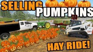 Farming Simulator 2017 | Halloween Special- Delivering Pumpkins, Hay Rides & Corn Maze