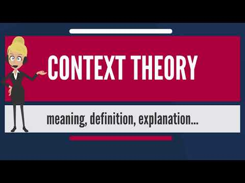 What is CONTEXT THEORY? What does CONTEXT THEORY mean? CONTEXT THEORY meaning & explanation