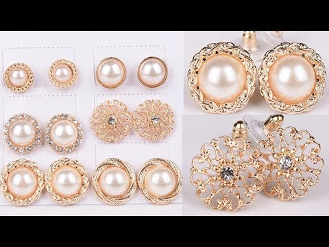6 Pairs Set Gold Color Flower Hollow Stud Earring Vintage Crystal Simulated Pearl Earrings Set