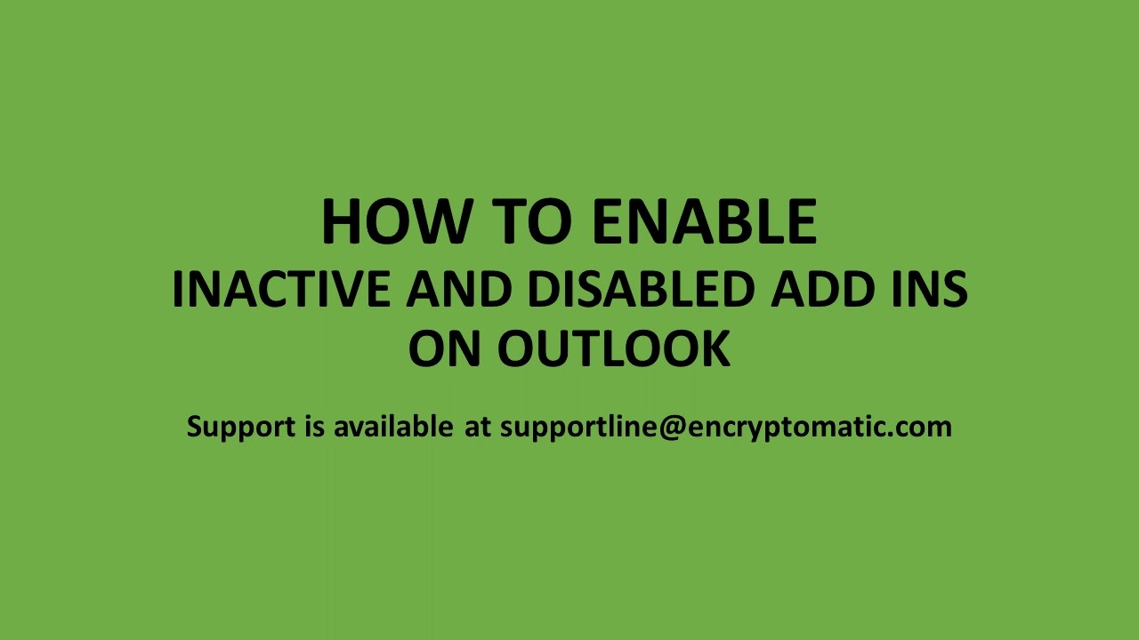 How to Enable Inactive Microsoft Outlook Add-Ins
