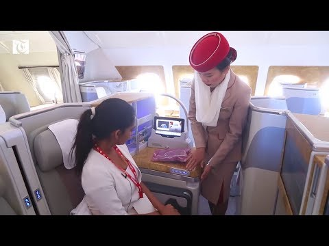 Inside Emirates' Airbus A380 at Muscat International Airport