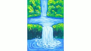 Уроки рисования. Как нарисовать водопад гуашью how to draw a waterfall | Art School