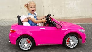 Little Girl Elis Ride On Pink Mercedes Benz AMG 12V Power Wheel with Baby Doll and Thomas BMW