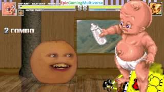 Annoying Orange & Infant Mutant Naughty Baby VS The Kingpin & SpongeBob SquarePants In A MUGEN Match