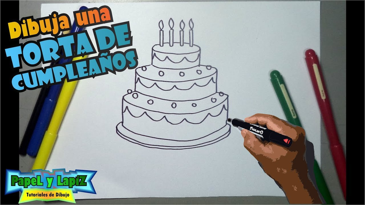 Cómo dibujar una torta de cumpleaños - YouTube