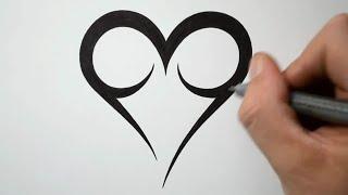 heart draw easy tattoo tribal