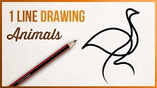 How to draw with a single line / stroke - Animals
