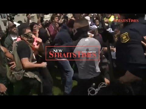 Anti-Trump protesters and supporters clash in California