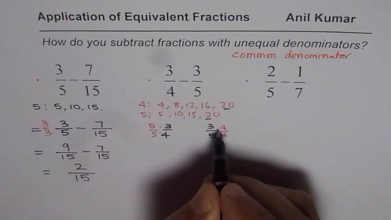 How To Subtract Fractions With Different Denominators