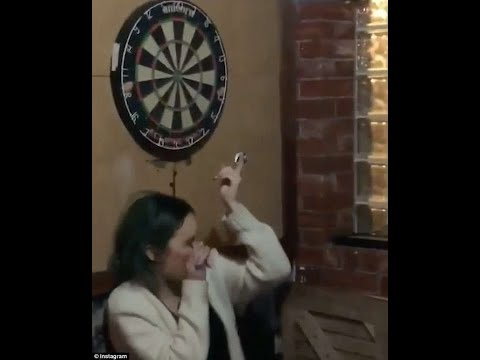 Horrific moment man accidentally throws dart into girlfriend's eye