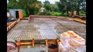 Строительство кирпичного дома.(Устройство монолитного ленточного фундамента, стен из кирпича, кровля из гибкой черепицы., 2015-01-09T12:05:51.000Z)