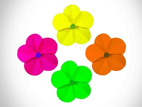 Paper flower from circles in origami style | DIY paper Circle flower for wall backdrop decoration |