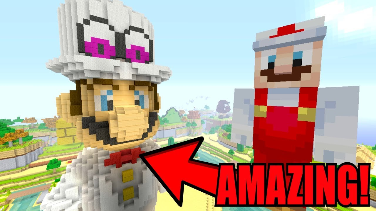 Minecraft Switch - How To Build Super Mario - MARIO ODYSSEY STATUE! [15]
