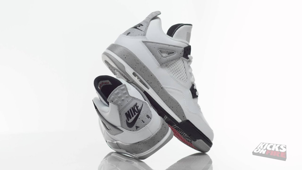 Sneakers In 4K - Nike Air Jordan 4 OG 89 White Cement GS (360° Look ... 8e7f77674