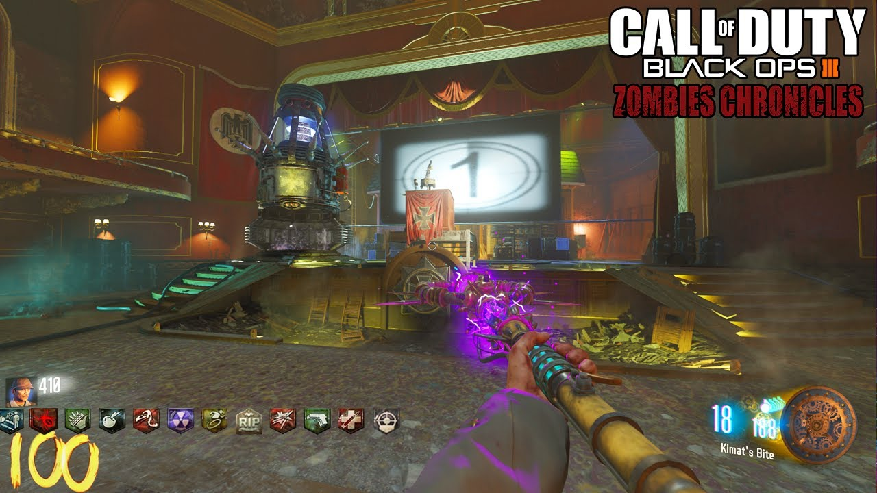 SLIQUIFIER AND STAFFS on KINO DER TOTEN! (Round 100 Attempt) - BLACK OPS 3  ZOMBIE CHRONICLES DLC 5!