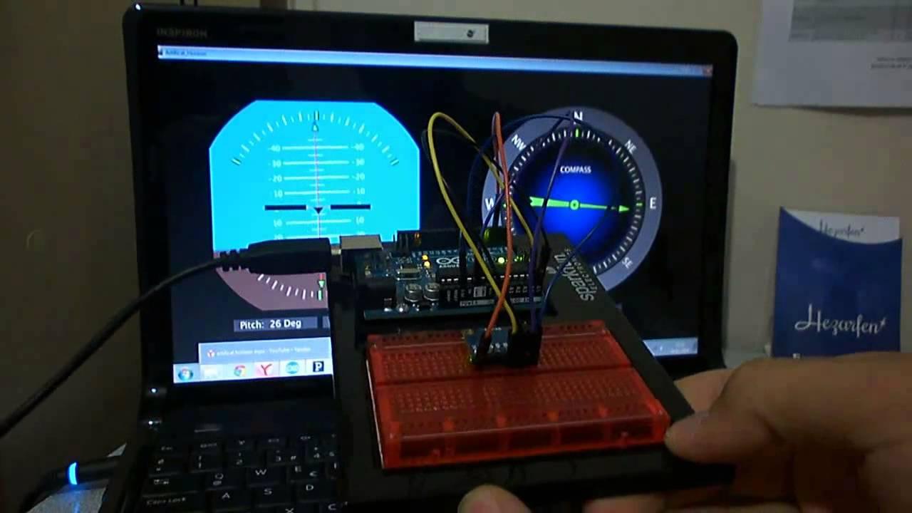 Artificial horizon and compass using arduino processing