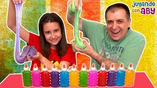 3 COLORS of GLUE SLIME CHALLENGE. Slime con tres colores brillantes