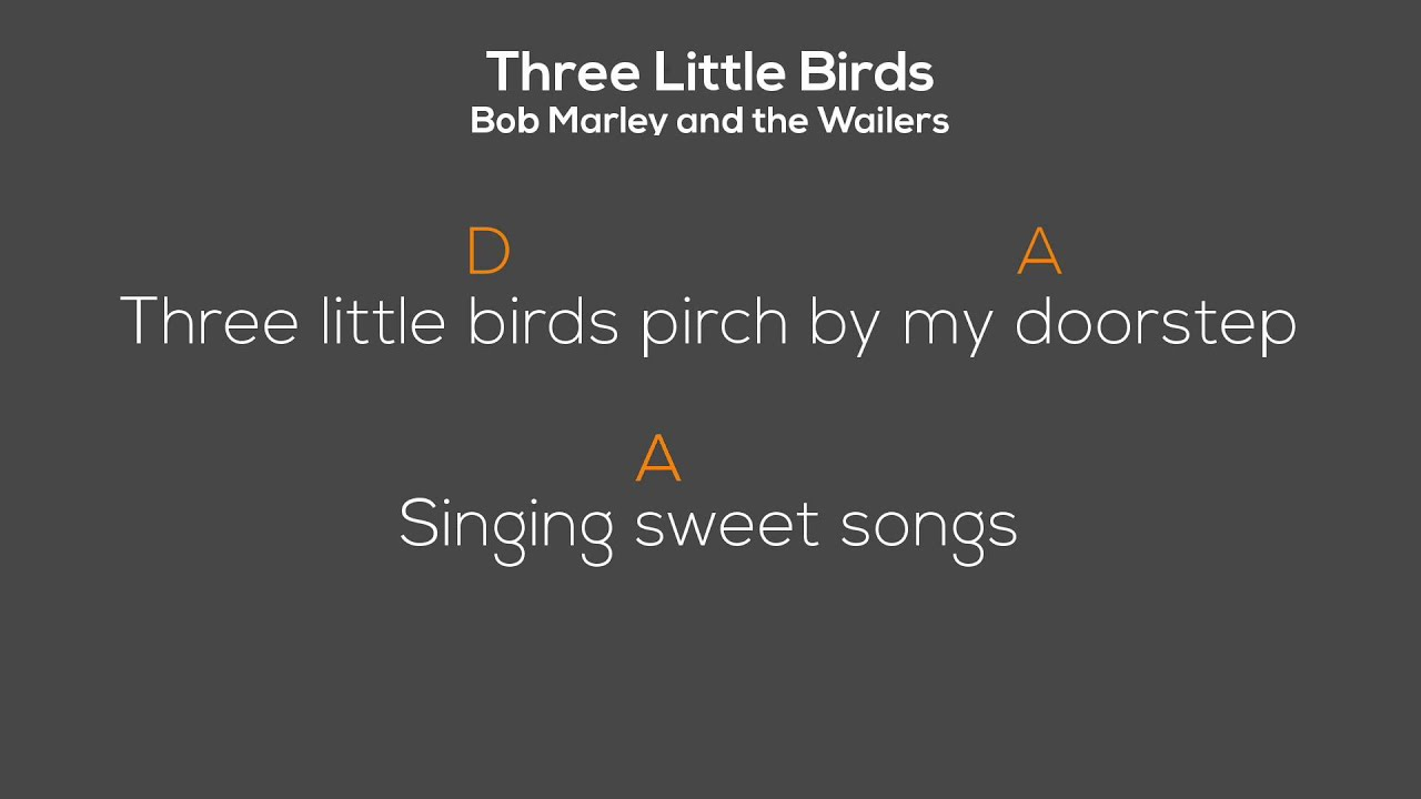 Three Little Birds Bob Marley Chordoke Chords Lyrics Youtube